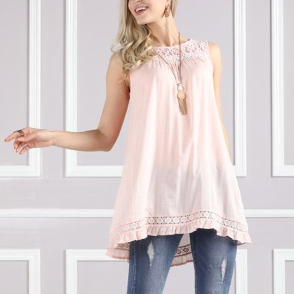 Suzanne Betro Tops - SUZANNE BETRO Pink Lace Yolk Tank